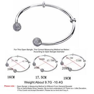 Image 2 - Женский браслет из стерлингового серебра S925 пробы Moonmory Moments, браслет из бисера с прозрачным цирконием, ювелирные изделия своими руками