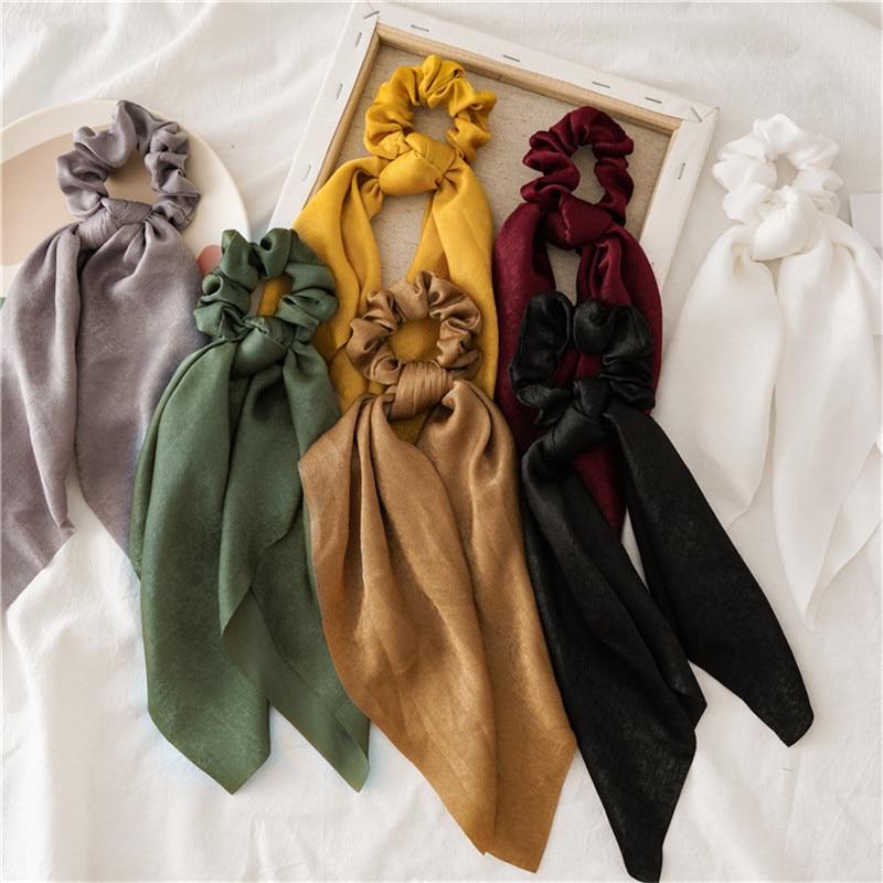 Ruoshui Woman Solid Scrunchies Hair Rings Girls Hair Ties Ladies Hair Accessories Headwear Hair Ornaments Hairband Tiara