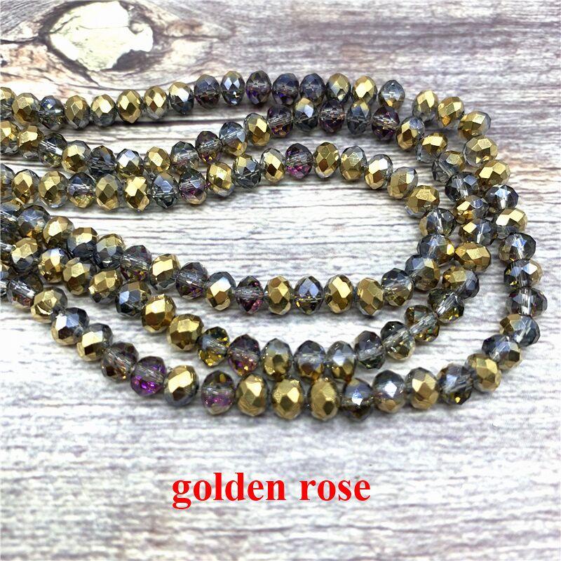 2X3/3X4/4X6/6X8 мм хрустальные бусины AB разноцветные стеклянные бусины Sapcer для ювелирных изделий ручное кольцо Ожерелье Изготовление DIY - Цвет: Golden rose