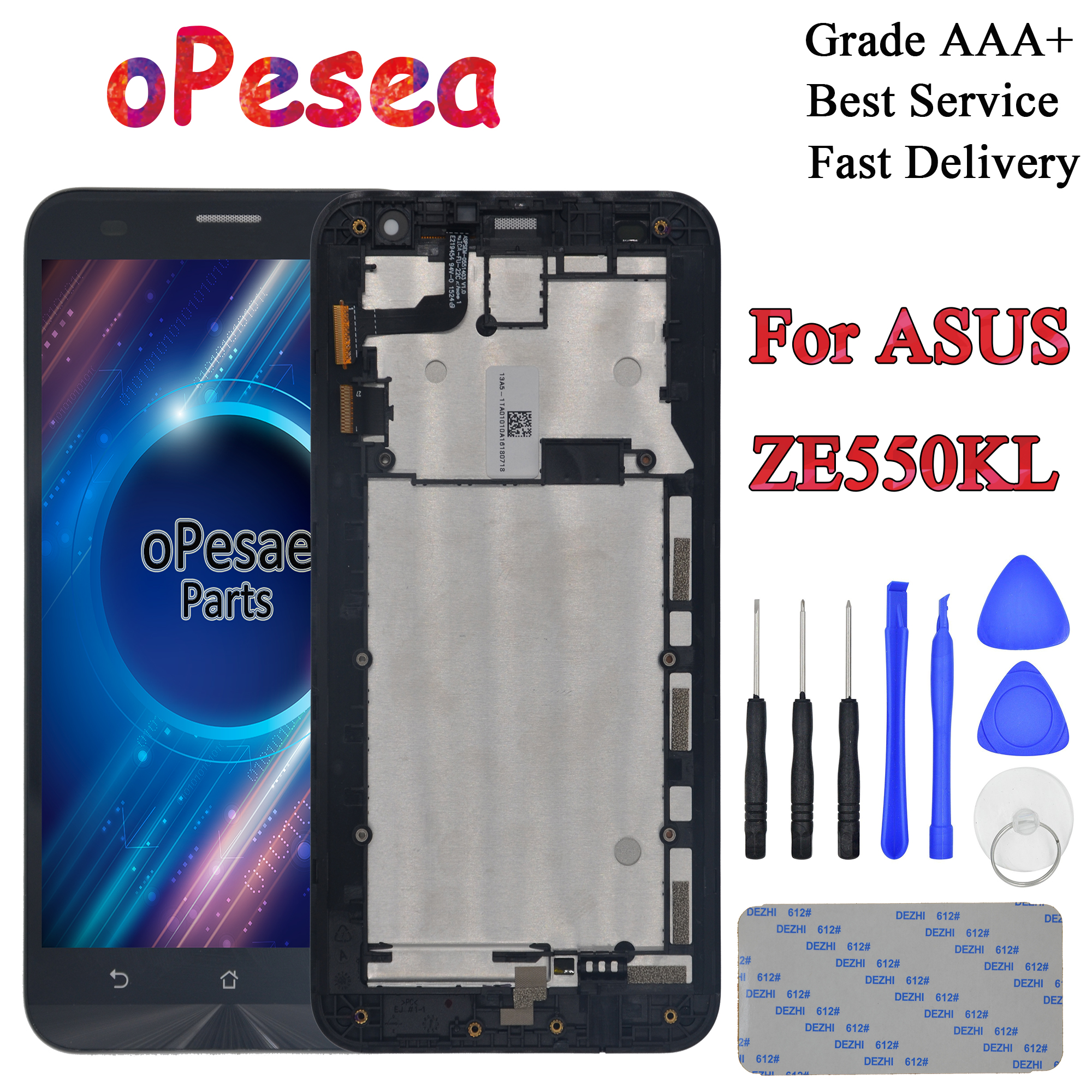 oPesea 5.5'' For Asus Zenfone 2 Laser <font><b>ZE550KL</b></font> <font><b>LCD</b></font> Display Panel Touch Screen Digitizer Glass Sensor Assembly With Frame image