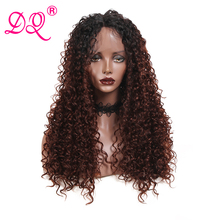 DQ Long Afro Kinky Curly Synthetic Lace Front Wig Women Heat Resistant Fiber Cos