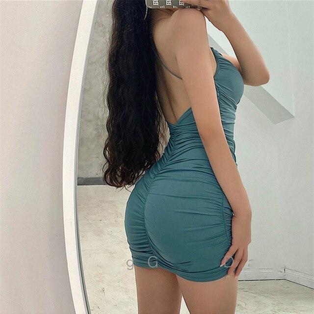 Cross halter sexy bag hip dress summer stretch tight-fitting mini dress nightclub party dress design sense