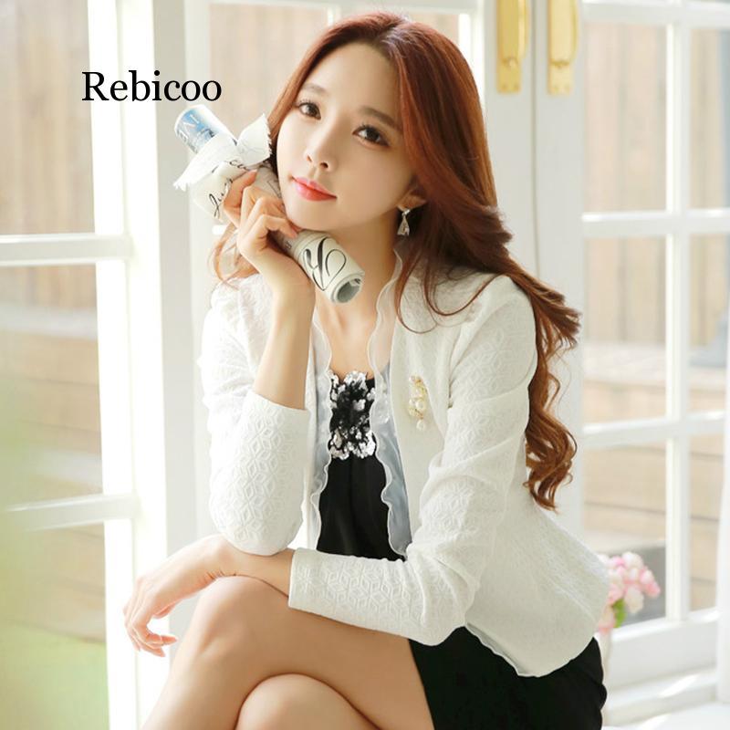 Spring Autumn Women Blazer White Mesh Bordered Ruffled Slim Single Button Short Blazer Long Sleeve Jacket Coat Outwear
