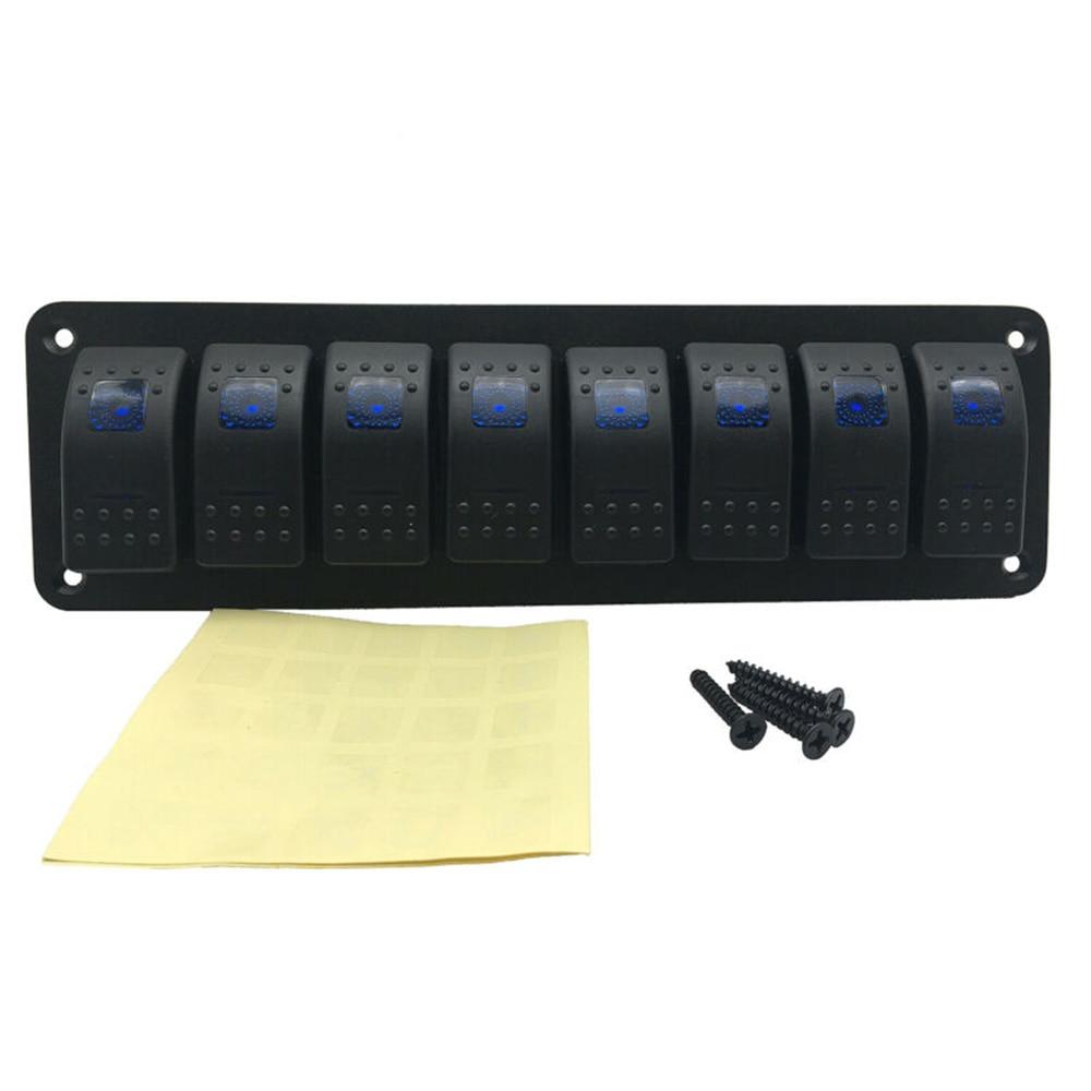 8 Gang Blue Car Marine Boat Waterproof Circuit LED Rocker Switch Panel Breaker