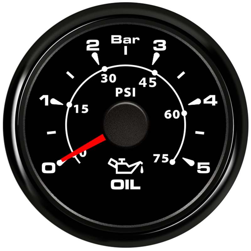 cheapest 52mm Pointer Oil Pressure Gauges 0-5Bar Waterproof Oil Pressure Meters 0-75psi LCD for Auto Truck Boat Vessel Yacht RV