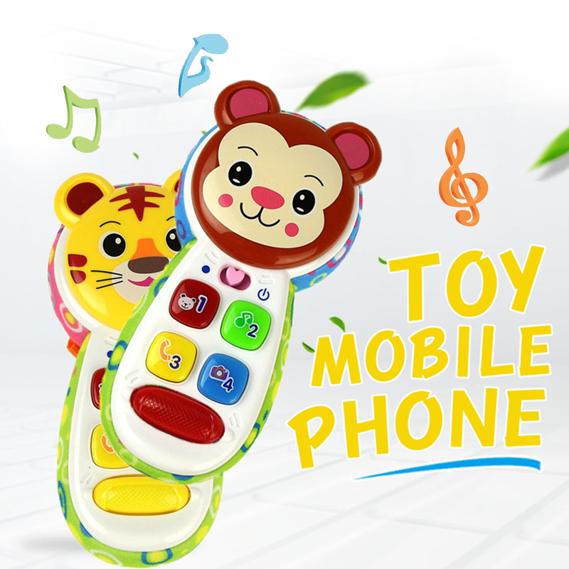 Musical Toy Mobile Phone With Music For Baby Mini Cute Animals Cell Phone Child Educational Learning Toys Electronic Infant Gift
