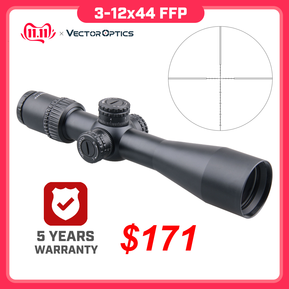 Vector Optics Veyron FFP 3-12x44  Ultra Compact Riflescope Air Rifle Scope First Focal Plane 1/10 MIL .223 7.62 AR15 Air Gun
