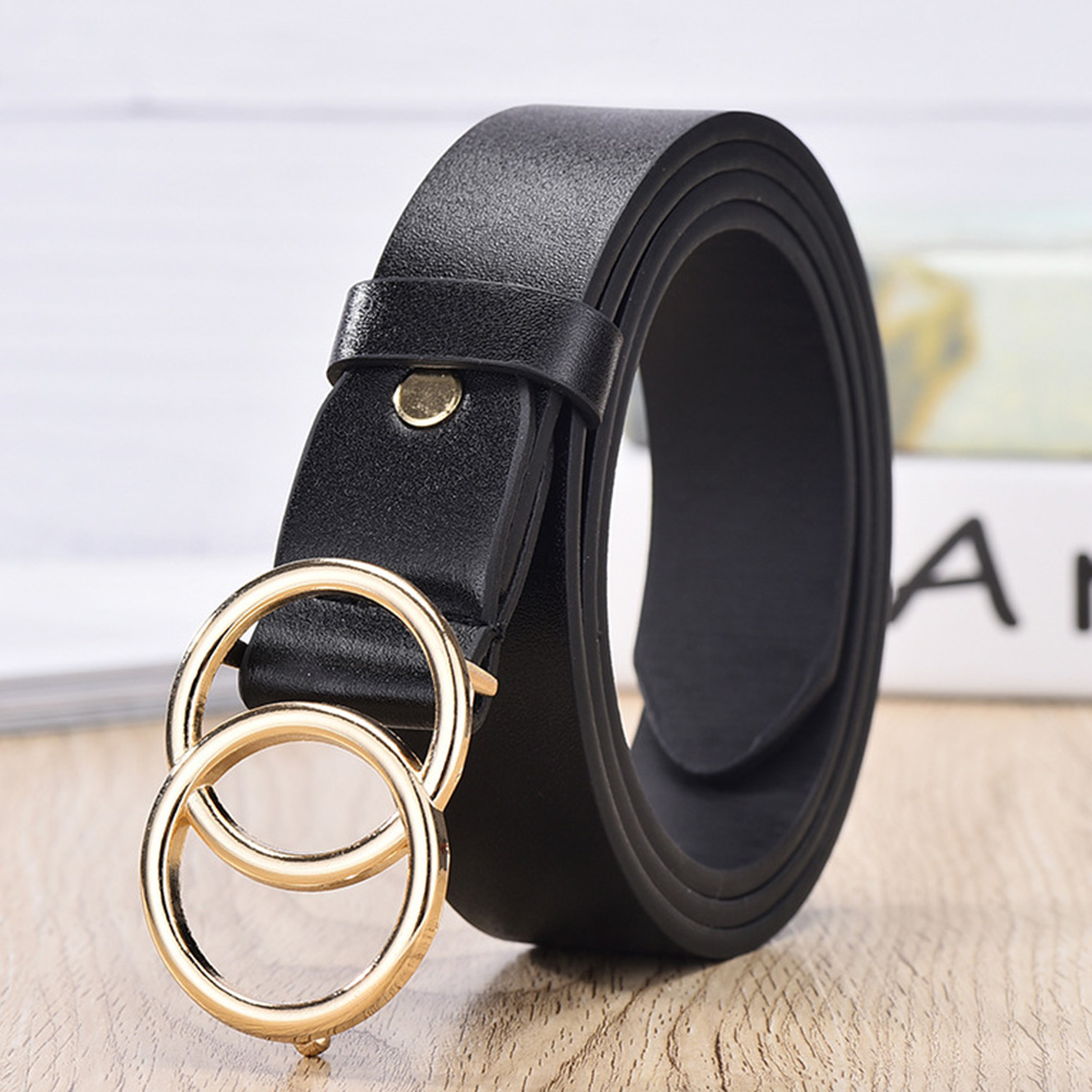 Waistband Women Belt Accessories PU Casual All Suit Gift Dress Decoration Adult Adjsutable Jeans Easy Use Double Round Buckle