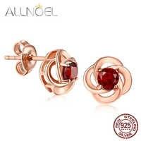 ALLNOEL Silver 925 Jewelry Stud Earrings 100% Natural Garnet Gemstone Rose Gold Clover Design Fine Jewelry S925 Red Earrings