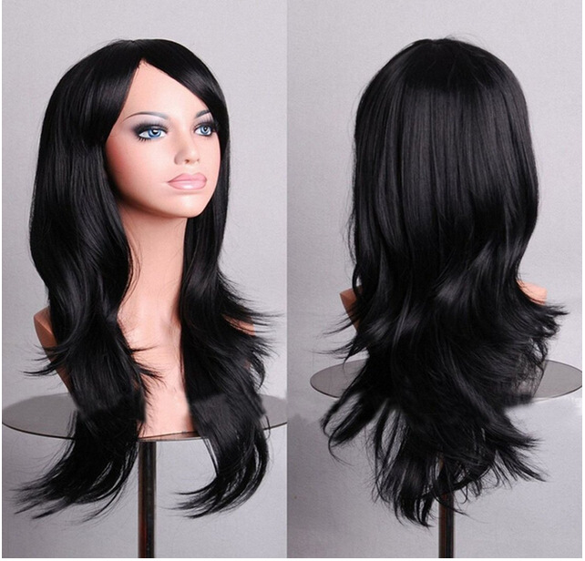 WTB 66CM Long Wave Synthetic Wigs For Black Women Cosplay Wig Blonde Blue Red Pink Grey Purple Green Hair Wigs With Bangs