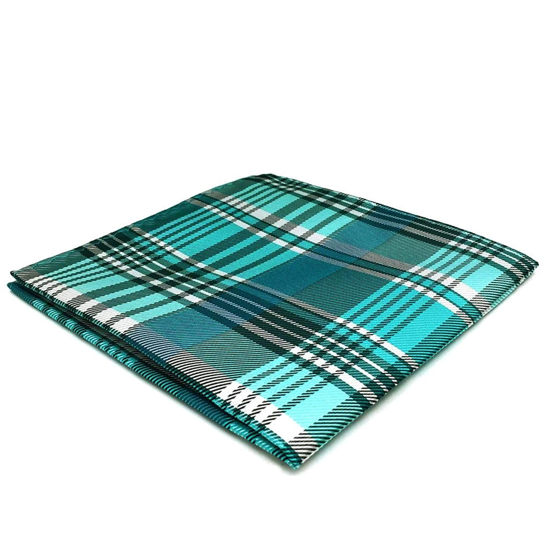 DH36 Azure Checkered Silk Mens Pocket Square Wedding Fashion Handkerchief Dress Novelty Classic Hanky