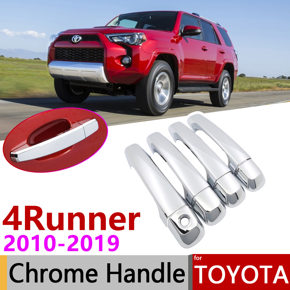 for <font><b>Toyota</b></font> <font><b>4Runner</b></font> 4 Runner N280 2010~2019 Chrome Door Handle Cover Car Accessories Stickers Trim Set 2011 2013 2015 2017 <font><b>2018</b></font> image