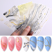 3D Nail Stickers Curve Stripe Lines Sliders Geometric Patterns Design Gold Silver Adhesive Transfer Decals Art Decorations