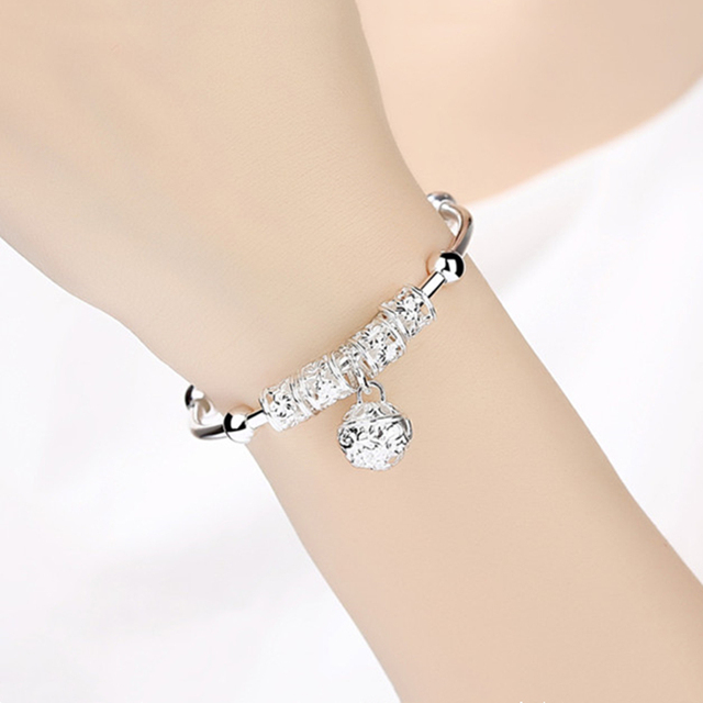 Fashion Silver 925 Sterling Silver Charm Stone Bangle Cuff Bracelet Ball Bell Pendants Women Jewelry Gift 5