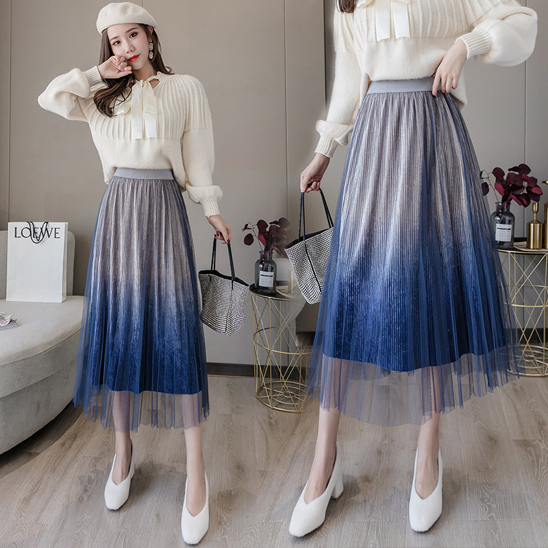 Retro Autumn And Winter New Style High-waisted Slimming Sequin Gold Velvet Gradient Pleated Gauze Skirt Mid-length Skirt Women's