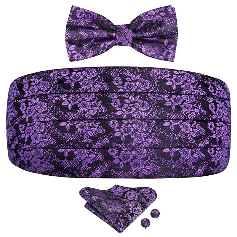 YF-2004 Hi-Tie Silk Mens Cummerbunds Bow Tie Set Fashion Purple Floral Men's Adjustable Classic Tuxedo Cummerbunds Elastic Belt