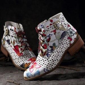 Image 3 - 2019 neue stiefeletten frauen Mode Schöne Blume muster boot weibliche Gummi stiefel für frauen Tragen beständig Zipper schuhe