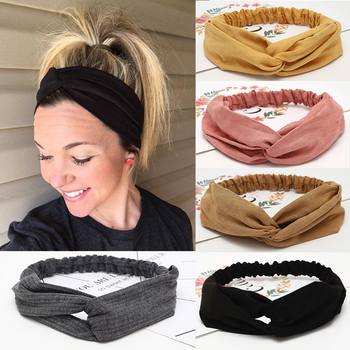 New Fashion Women Head Bands Cross Knot Headband Elastic Hair Bands Soft Solid Color Girls Hairband Hair Accessories Headwrap fashion print boho women s hairband elastic hair band hoop bow wide cross knot headband girls headwrap turban hair accessories