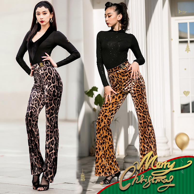 New Leopard Dance Pants Latin Dress Women Pants Ballroom Trousers Practice Clothes ChaCha Rumba Costume Competition Pant BL3166