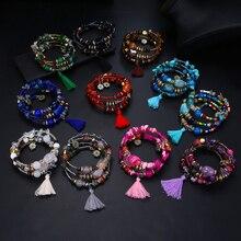 17IF Винтаж кисточкой смолы красивые браслеты с камнем для женщин Pulsera этнический многослойный браслет из бус богемные Ювелирные изделия Подарки