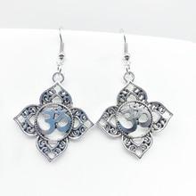 цены 2020 Delivers a pair of stylish mandala lotus Sanskrit silver pendant earrings, women's jewelry gift