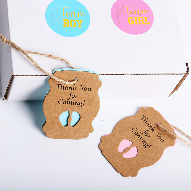 50Pcs Cute Little Feet Shape Kraft Paper Tags Gift Label Babyshower Gift Card First Birthday Party Greeting Invitation 1st Birth