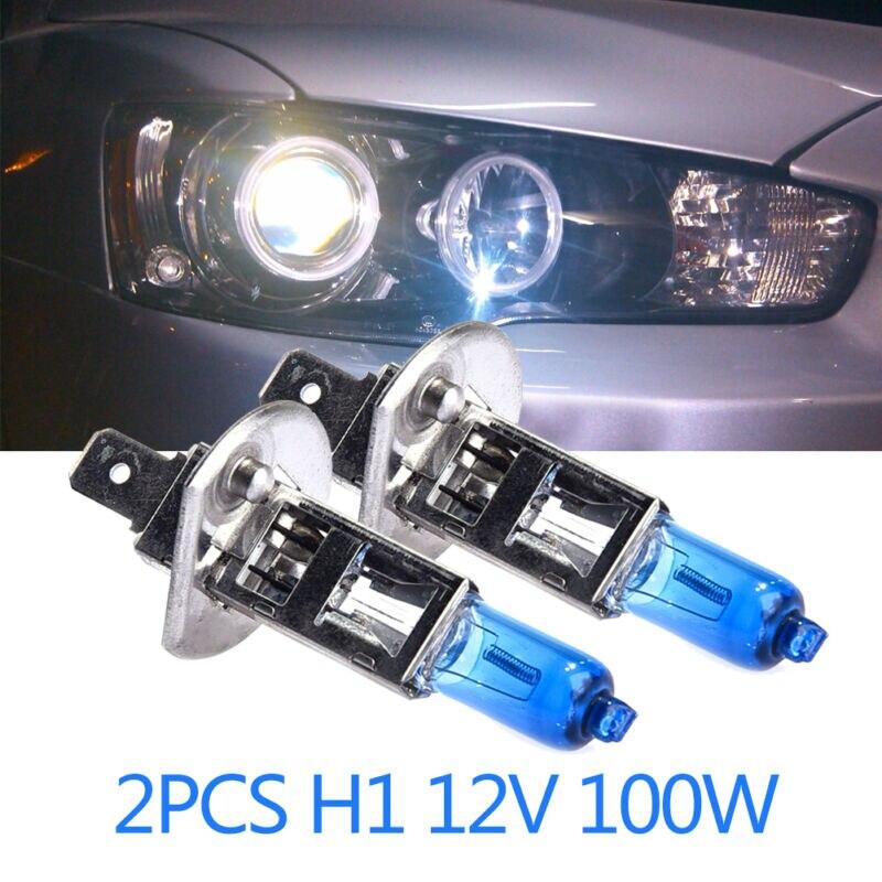 2 шт. автомобиль H1 галогенные лампы головного светильник s белый светильник 12V 100W 6000k ксенона головной светильник лампы галогенные лампы HOD За...