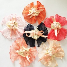 1 Pcs/lot Retro Cute Chiffon Hairpin Girls Hair Ribbon Bows Clips Voile Kids Floral Accessories