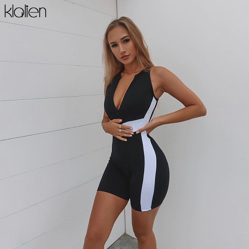 KLALIEN V-neck Sleeveless Striped Slim Tennis Femme Jumpsuit Rompers 2019 New Fitness Casual Fashion Sportswear Summer Women