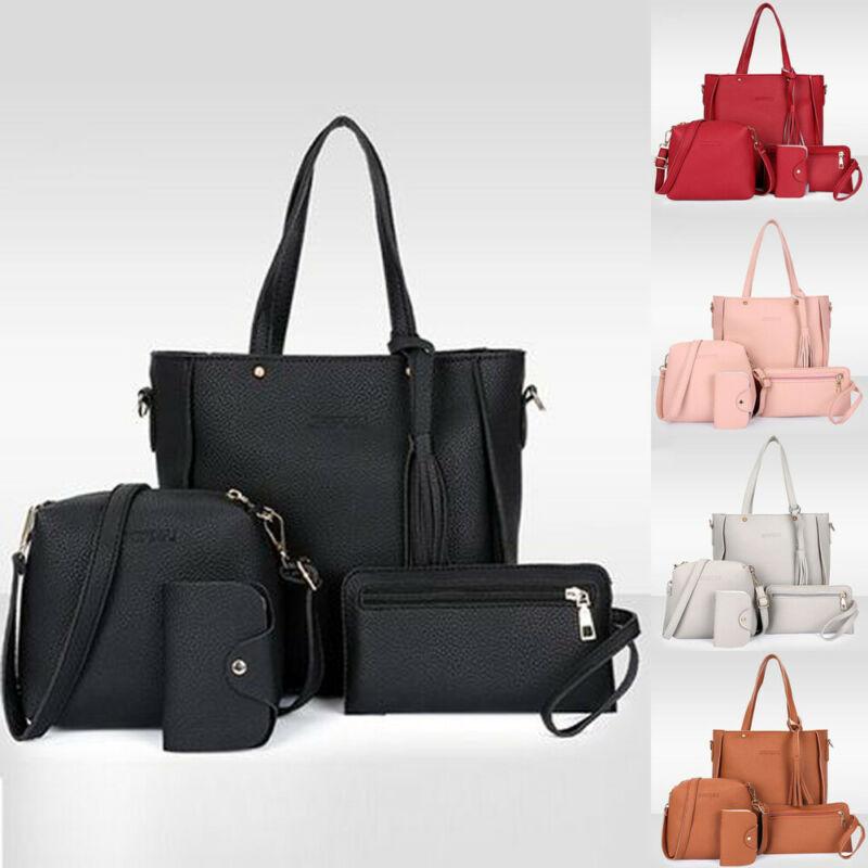 4pcs//set Women Ladies Leather Handbag Shoulder Tote Purse Satchel Messenger Bag
