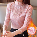 Photo Shoot 2019 Fall And Winter Clothes New Style Brushed And Thick Lace Shirt Female Long Sleeve Base Shirt Korean-style Slim