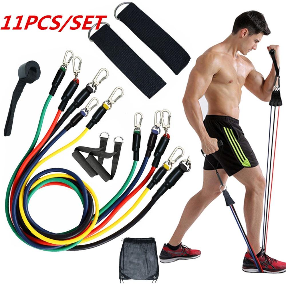 11PCS Resistance Band Set Exercise Fitness Strength Training Tube Workout Bands