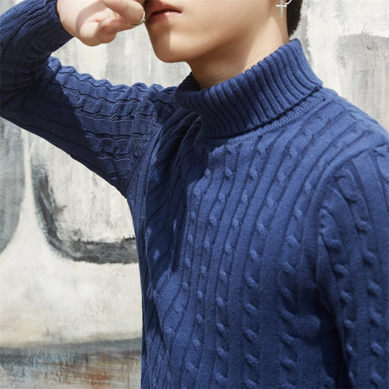 Brand Clothing Sweater Mens Winter Thick Warm Cashmere Sweater Men Turtleneck Mens Sweaters Slim Pullover Male Double Collar