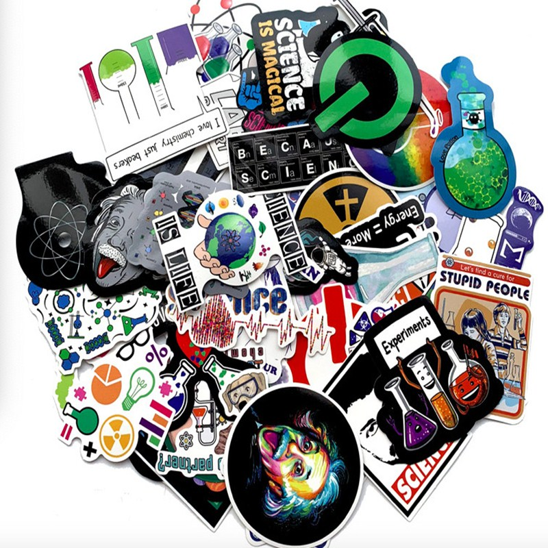 50pcs/Pack Waterproof Cartoon Laboratory Personality Science Stickers Skateboard Suitcase Guitar Luggage Laptop Phone Stickers