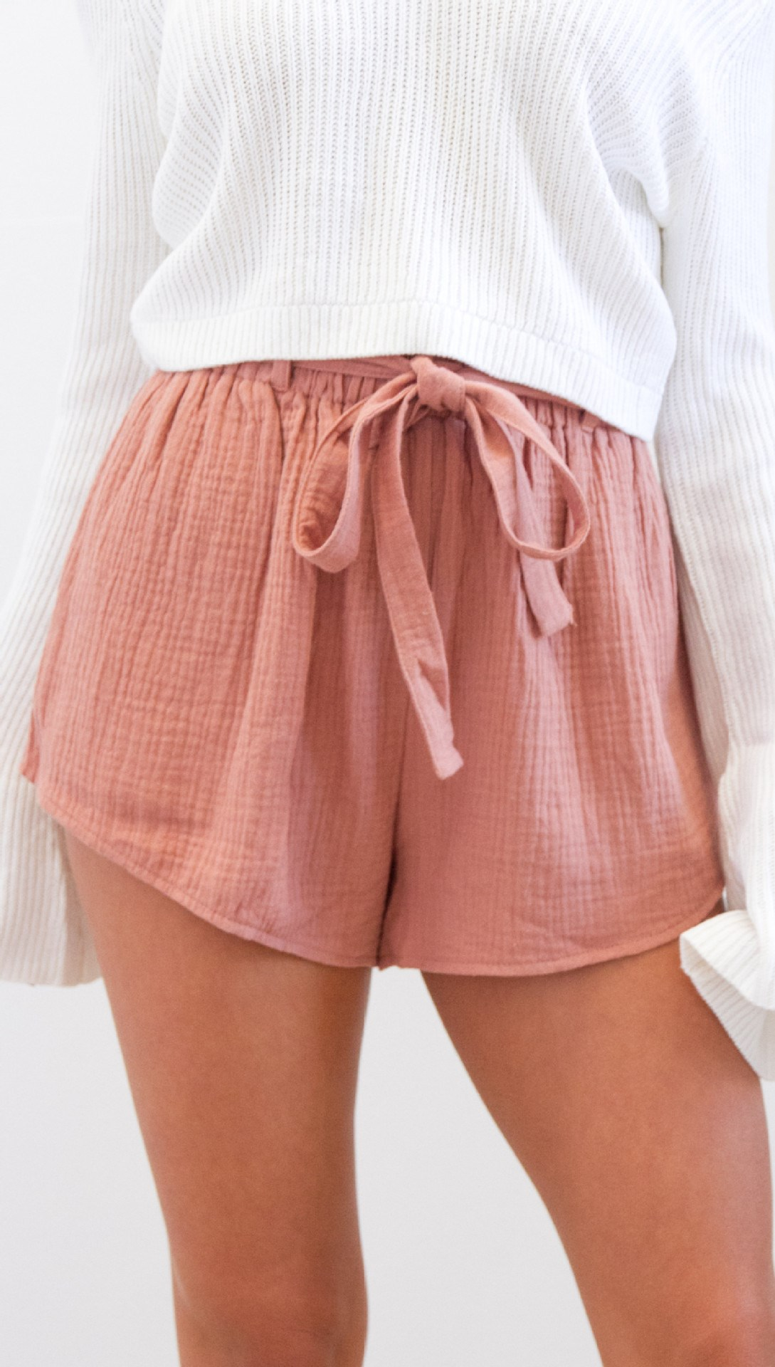 Pop Tide Nice Fashion Women Lace Up Casual Shorts Belt Solid Loose Shorts Sashes Elastic High Waist Summer Shorts - 5