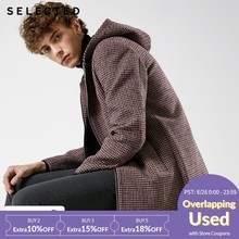 SELECTED New woolen houndstooth hooded long woolen coat S |418427548(China)