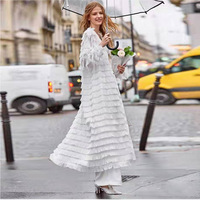 Spring and summer fashion women's tasseled loose flowing silky fairy chiffon cardigan dress with belt street