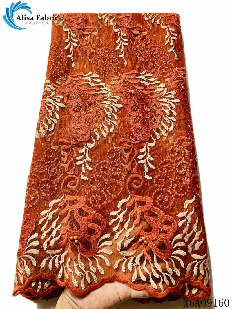 Alisa bleu broderie africaine dentelle tissu de haute qualité 2019 français net lacets avec des pierres 5 yards/pcs maille dentelle tissus pour robe