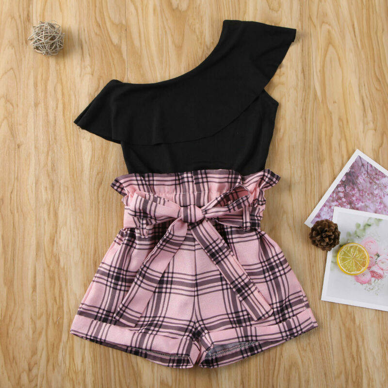 Pudcoco Toddler Girls Clothes Baby One Shoulder Ruffles T Shirts Tops Plaid Print Bow Shorts 2pcs Child Girl Set 2-7Y