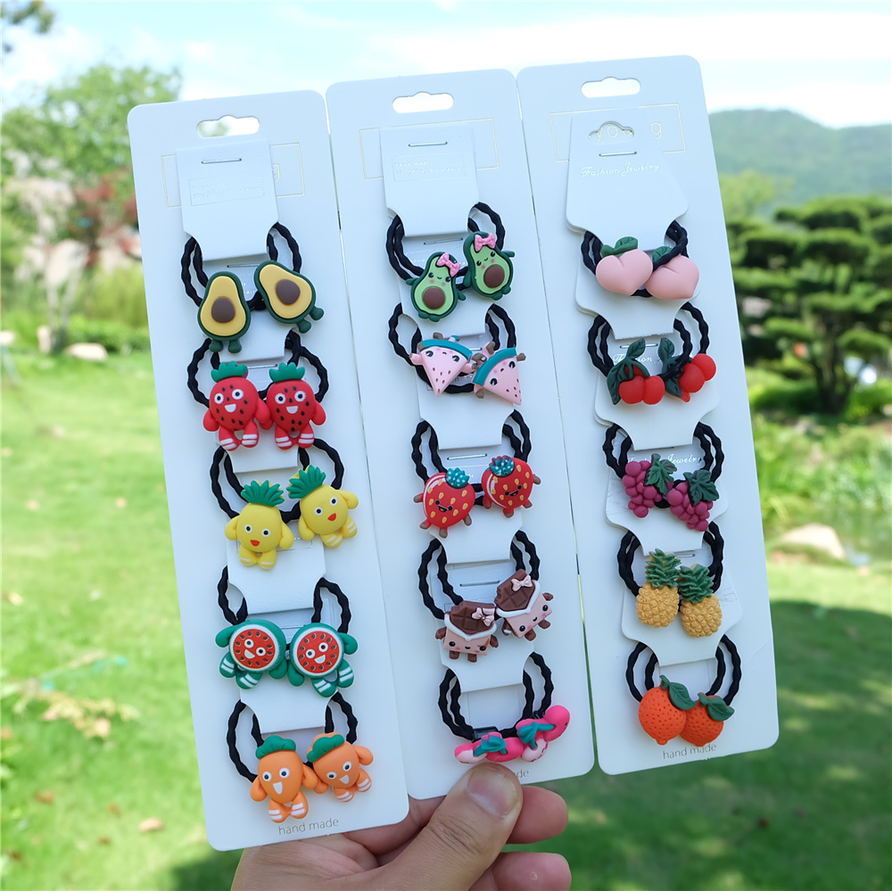 10Pcs/Set Girls Cute Cartoon Elastic Hair Bands Animal Fruit Scrunchies Ponytail Holder Headbands For Kids Baby Hair Accessories