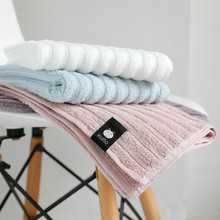 1 Pc 34x75cm 100% Cotton Plain Striped Jacquard Soft Absorbent Adult Bathroom Washcloth Hand Face Towel