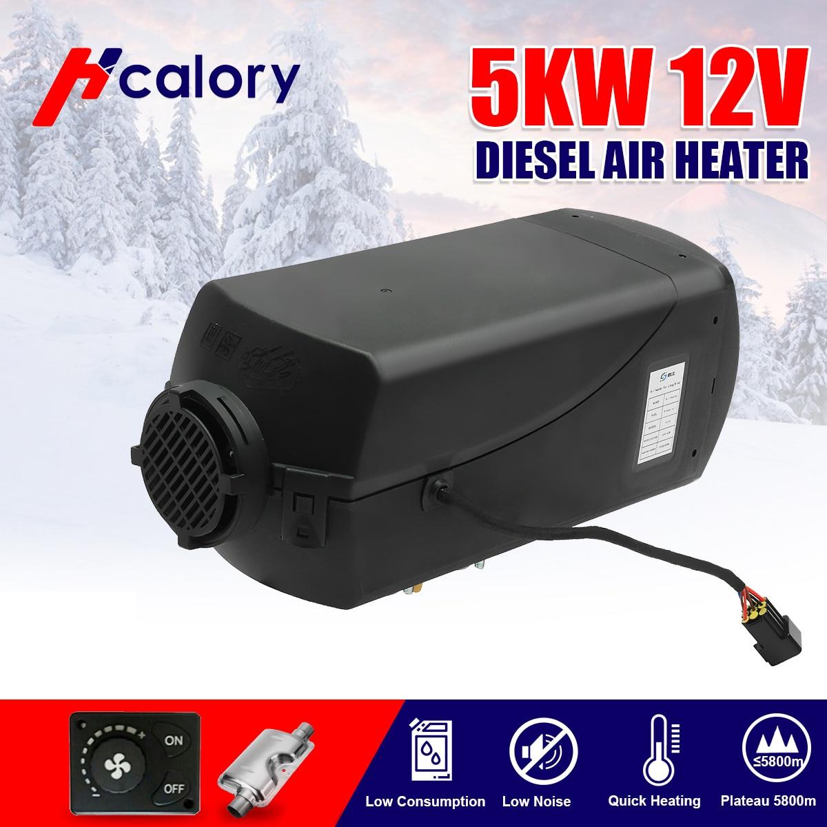 Réchauffeur d'air de Diesels de réchauffeur de voiture de 5000W 12V 5KW/2KW pour RV, remorque de camping-Car, camions, bateaux bouton commutateur silencieux pour libre