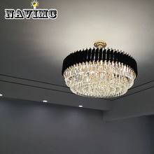 Modern Black Round K9 Crystal Stainless Steel Ceiling Light For Living Room Decorating Lighting Fixture все цены