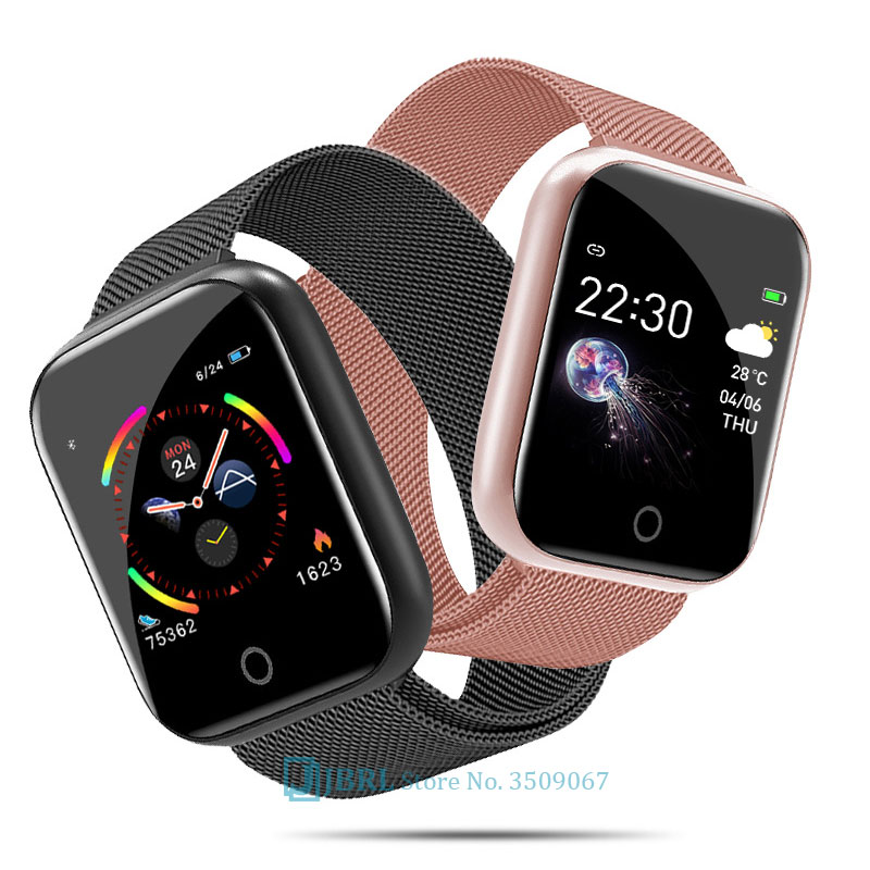 Fashion Stainless Steel Smart Watch Women Men Electronics Sport Wrist Watch For Android IOS Square Smartwatch Smart Clock Hours 1