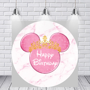 Image 2 - Girl Baby Birthday Photography Backdrop Pink Marble Mouse Round Backdrop Cover Circle Background Party Supplies Photocall Prop