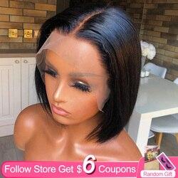 Droite 6x1 HD T partie dentelle Bob perruques pour les femmes noires aircab brésilien couleur naturelle cheveux humains partie profonde dentelle avant perruques courtes