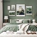 Горный лес Холст Картина Зеленый Природа Пейзаж Плакат в скандинавском стиле пейзаж печать стены Искусство Скандинавское украшение