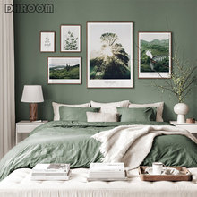 Mountain Forest Canvas Painting Picture Green Nature Scenery Scandinavian Poster Landscape Print Wall Art Nordic Decoration