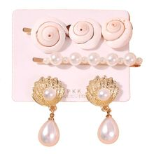 Summer Natural Shell Faux Pearl Crystal Earring Hairpin Kit Hawaii Beach Jewelry H8WF faux pearl