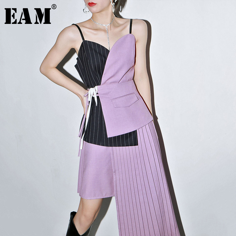 [EAM] Women Purple Contrast Color Asymmetrical Camis New V-collar Sleeveless Personality Fashion Tide Spring Autumn 2020 1S616